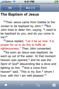 Verses in BibleReader are formatted well and include links to footnotes.